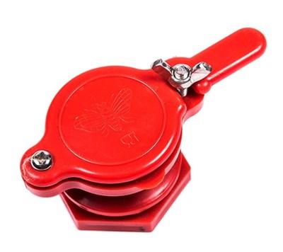Кран для медогонки диаметр 45 мм пластиковый красный. - фото 4981