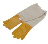 Перчатки пчеловода из жёлтой кожи с нарукавниками.