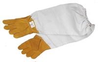 Перчатки пчеловода из жёлтой кожи с белыми нарукавниками.